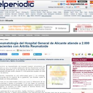 Reumatología del Hospital General de Alicante atiende a 2.000 pacientes con Artritis Reumatoide